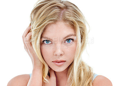 Buy stock photo Closeup portrait of an attractive young woman in the studio