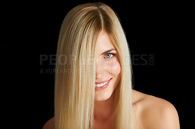 Buy stock photo Head and shoulders shot of a beautiful young woman