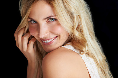 Buy stock photo Portrait of an attractive young woman giving you a toothy smile