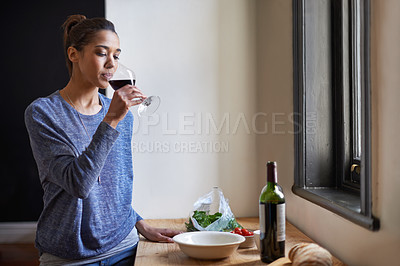 Buy stock photo A young woman drinking wine