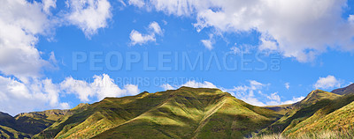 Buy stock photo A picturesque view over green valleys and mountains
