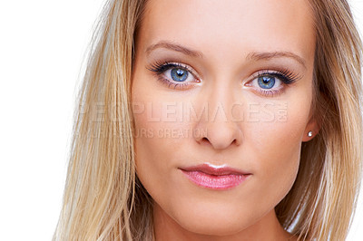 Buy stock photo Closeup of a pretty blonde woman isolated on white