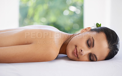 Buy stock photo A young woman relaxing in a health spa