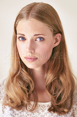 Buy stock photo Studio portrait of a gorgeous young woman