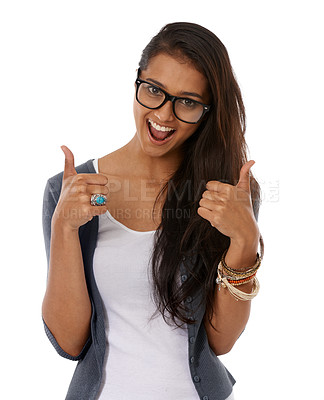 Buy stock photo A young ethnic woman showing a thumbs-up to the camera while smiling