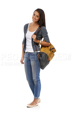 Buy stock photo A young ethnic college student smiling at the camera while wearing a backpack