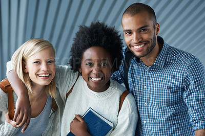 Buy stock photo Portrait of smiling University students arm in arm