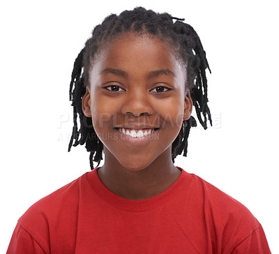 Buy stock photo An African boy smiling broadly at the camera