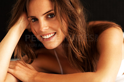 Buy stock photo Closeup of a happy ypoung female model posing