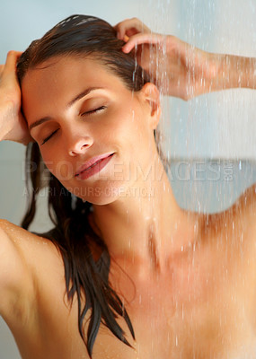 Buy stock photo Sexy young woman enjoing bath under water shower
