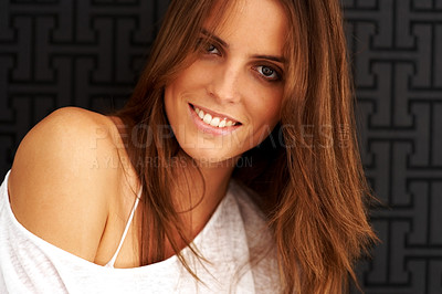 Buy stock photo Happy young female fashion model smiling