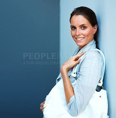 Buy stock photo Happy young woman woman with her handbag