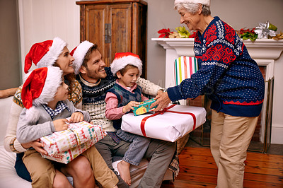 Buy stock photo A family enjoying themselves at Christmas