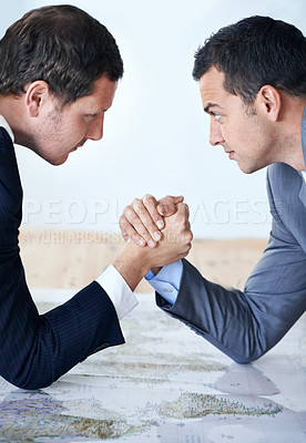 Buy stock photo Cropped shot of two businessman showing their solidarity