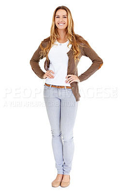 Buy stock photo Portrait of an attractive young woman posing in the studio with her hands on her hips