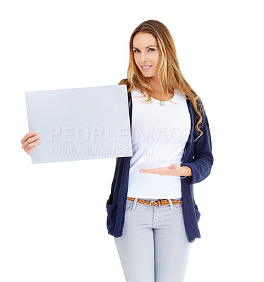 Buy stock photo A beautiful woman holding a blank placard
