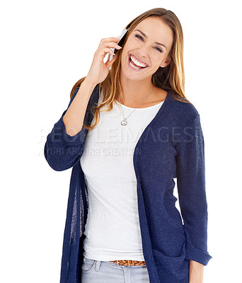 Buy stock photo Studio shot of a young woman communicating via cellphone