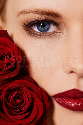Buy stock photo Cropped shot of a beautiful young woman's face