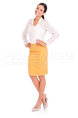 Buy stock photo Full-length studio portrait of an attractive young woman posing with her hands on her hips