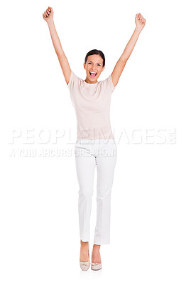 Buy stock photo Full-length studio portrait of an attractive young woman with her arms outstretched