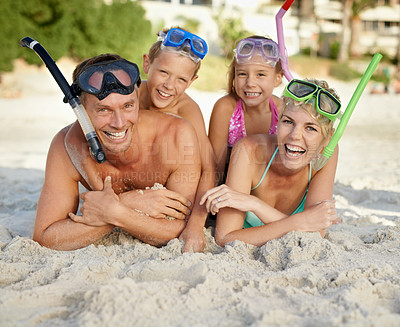 Buy stock photo A family having fun at the beach