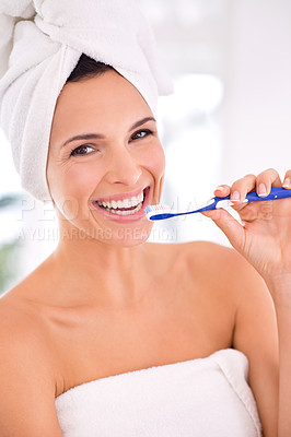 Buy stock photo Portrait of a beautiful woman about to brush her teeth
