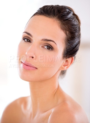 Buy stock photo Portrait of a beautiful woman with bare shoulders