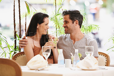 Buy stock photo A couple on a romantic date at a fine dining restaurant