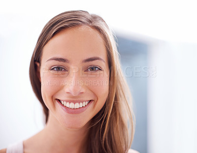 Buy stock photo Closeup portrait of an attractive young woman showing you her pearly whites