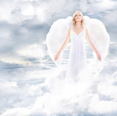 Buy stock photo A beautiful angel on clouds