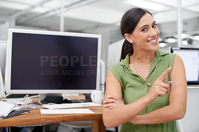 Buy stock photo Shot of a smiling young businesswoman shaking her finger