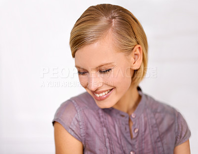 Buy stock photo Closeup of a beautiful young woman dressed for the office