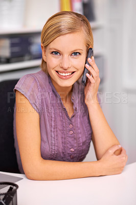 Buy stock photo Portrait of a beautiful young woman on the phone at work