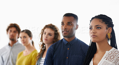 Buy stock photo Cropped shot of a group of young coworkers
