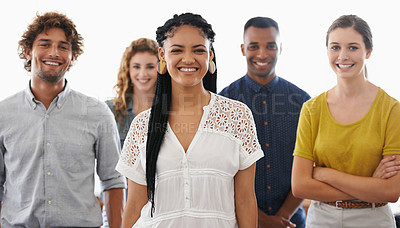 Buy stock photo Cropped portrait of a group of positive-looking work colleagues