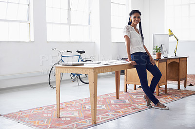 Buy stock photo Full length shot of a young professional standing in her office