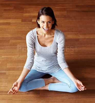 Buy stock photo Smiling young lady practising yoga