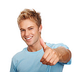 Young dude with thumbs up on white background