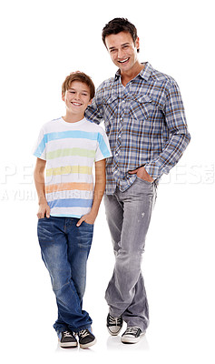 Buy stock photo Full-length portrait of a father and son standing beside each other
