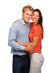 Lovely couple embracing against white background