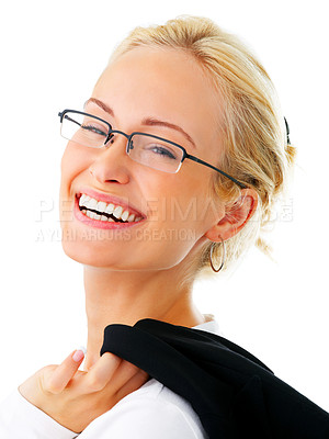 Buy stock photo Studio portrait of a smiling young businesswoman with her jacket flung over her shoulder