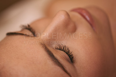 Buy stock photo Closeup of a young woman's face during a massage