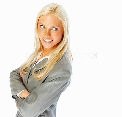 Buy stock photo Happy young business with hands folded isolated against white