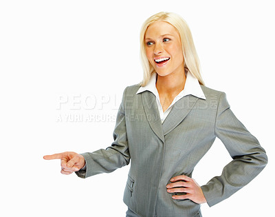 Buy stock photo Pretty business woman pointing away, over white background