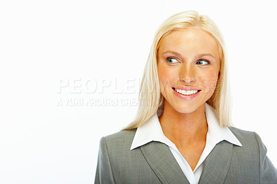 Buy stock photo Sweet young business woman looking at copyspace