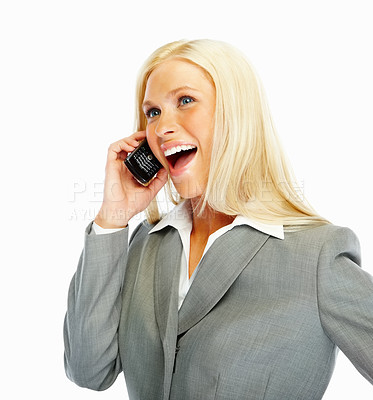 Buy stock photo Happy young business woman enjoying a conversation on the phone