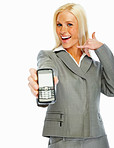 Call me: Young business woman holding a mobile phone