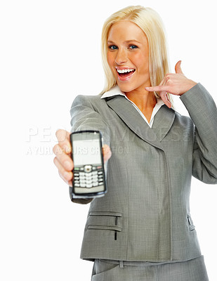 Buy stock photo Cute business woman displaying a cellphone