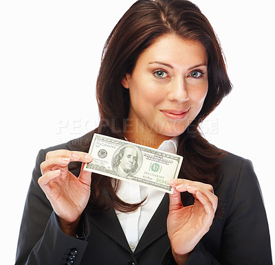 Buy stock photo Portrait of an excited young business woman holding money isolated on white background