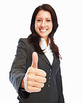 Cheerful business woman with thumbs up celebrating success